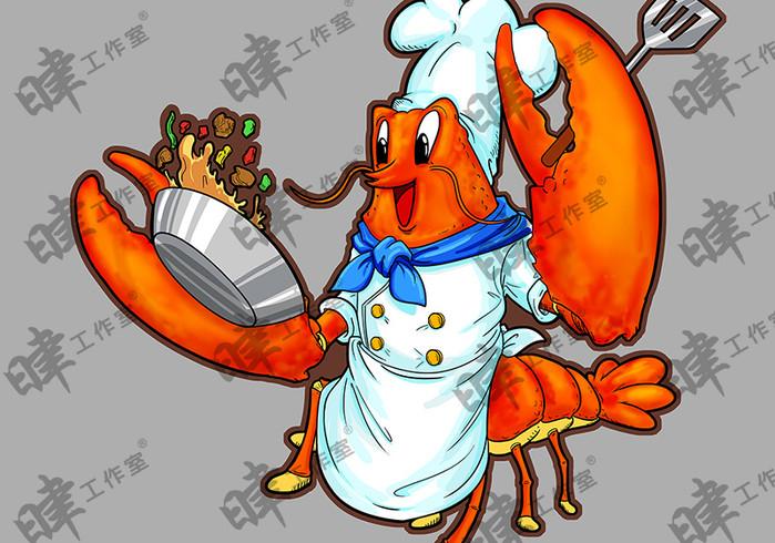 龍蝦主題餐廳插畫