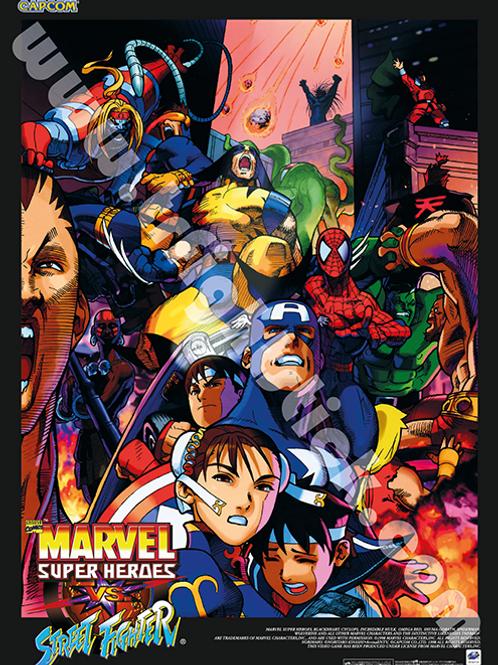 Marvel Super Heroes Vs. Street Fighter SATURN Poster B2 Size