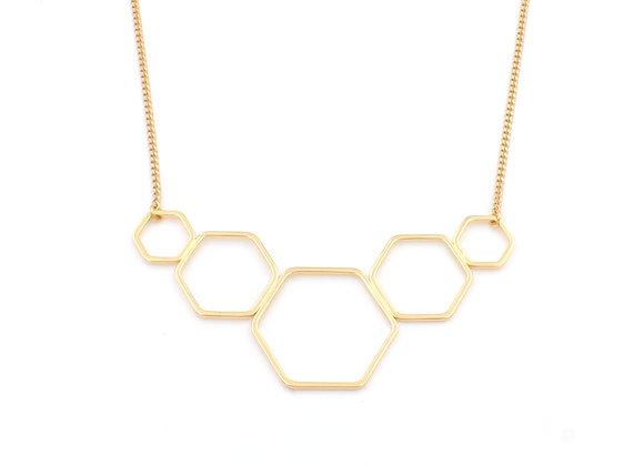 Collier plastron doré à l'or fin, motifs hexagones abeilles, bijoux de créateur, made in France