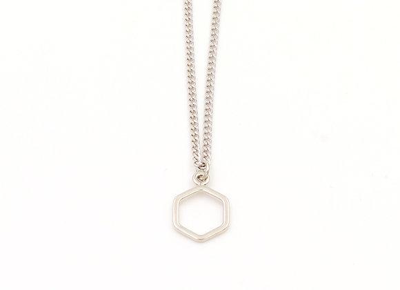 Collier argenté, motifs hexagones abeilles, bijoux de créateur, made in France