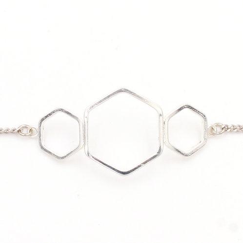 Bracelet argent, motifs hexagones, bijoux de créateur