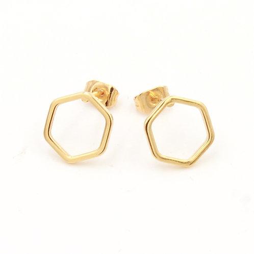 Boucles d'oreilles puces dorées à l'or fin, motifs hexagones abeilles, bijoux de créateur, made in France