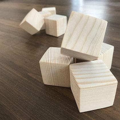 Ensemble de cube de bois vierge ( 5 cubes )