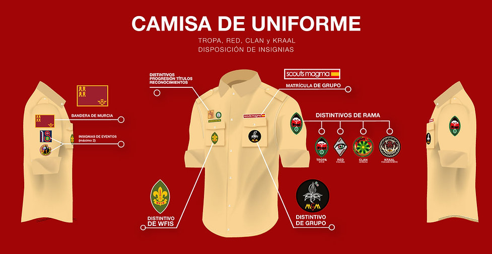 Camisa Scout del Uniforme del Grupo Scout Magma