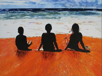 HADLEY, SCOTT AND LUCY ON BUNGAN BEACH