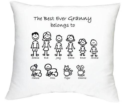 Personalised Stick Figure Family Cushion