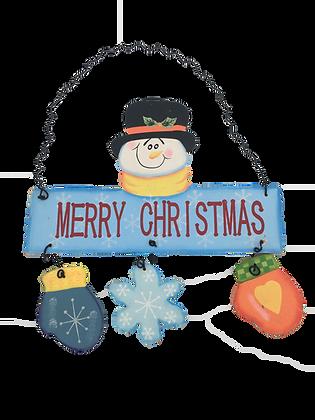 'Merry Christmas' Snowman Sign
