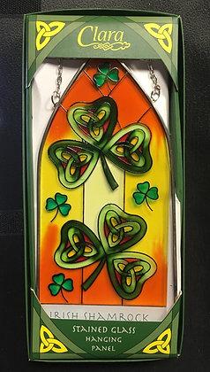 Irish Shamrock Stained Glass Hanging Panel