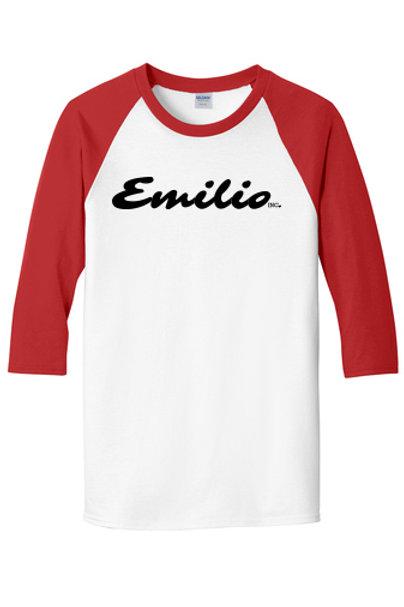 Emilio Inc. Baseball T-Shirt, Red Sleeves