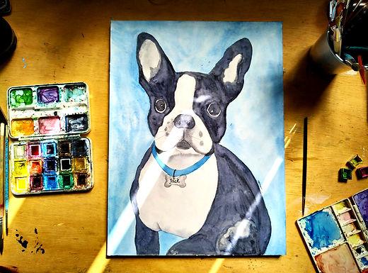 pintura em aquarela sob encomenda pet -
