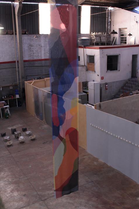 Aerófano, 2018 - 75x600cm  - Arte digital sobre tecido de voil