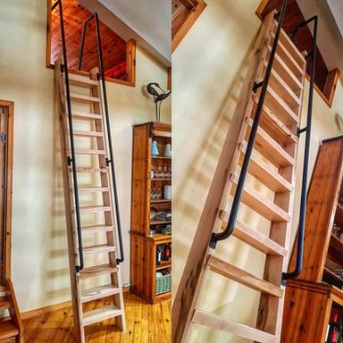 Maple Ship Ladder W/Metal Raling