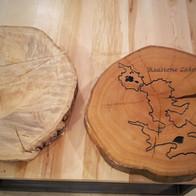 Engraved Oak Side Table Top
