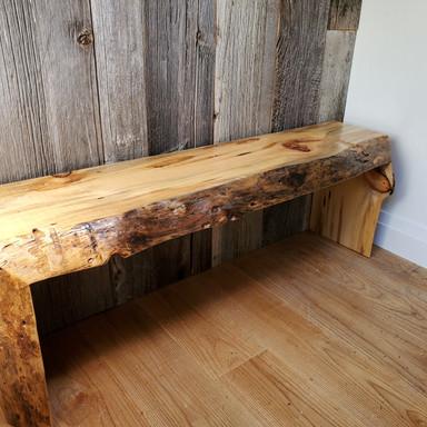 Live Edge Pine Waterfall Bench