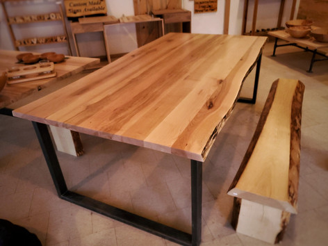 Live Edge Maple Table With Metal Rectangle Legs