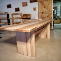 Live Edge Maple Table, Block Ends With Stretcher