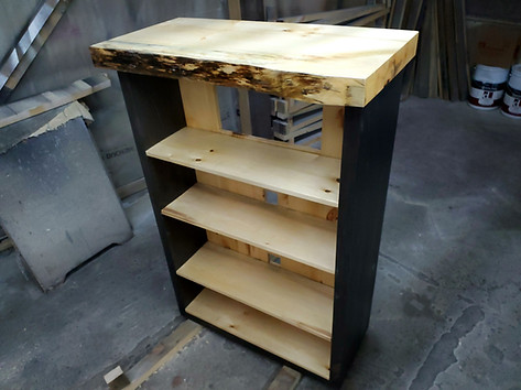 Pine Book Shelf With Ebony Stained Sides