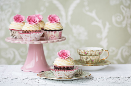 Afternoon tea with rose cupcakes.jpg