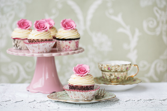Afternoon tea with rose cupcakes.jpg