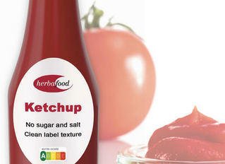 "Time to ""Ketchup"" with us! Sugar and salt removed, no compromise on taste and texture! Herbacel AQ+"