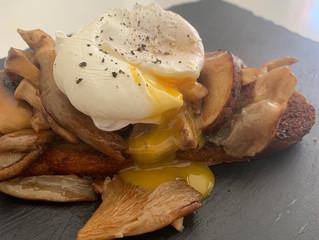 Koji wild mushrooms, Sourdough and Poached egg