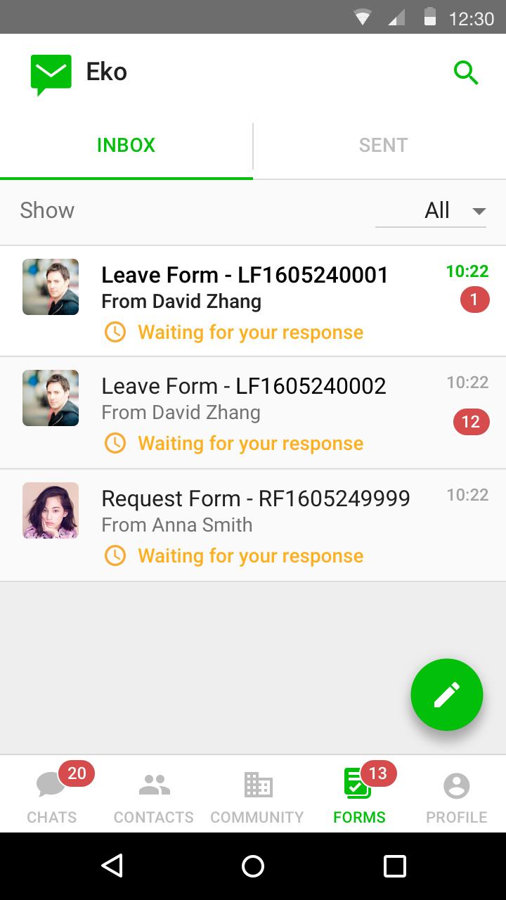 Forms - Inbox