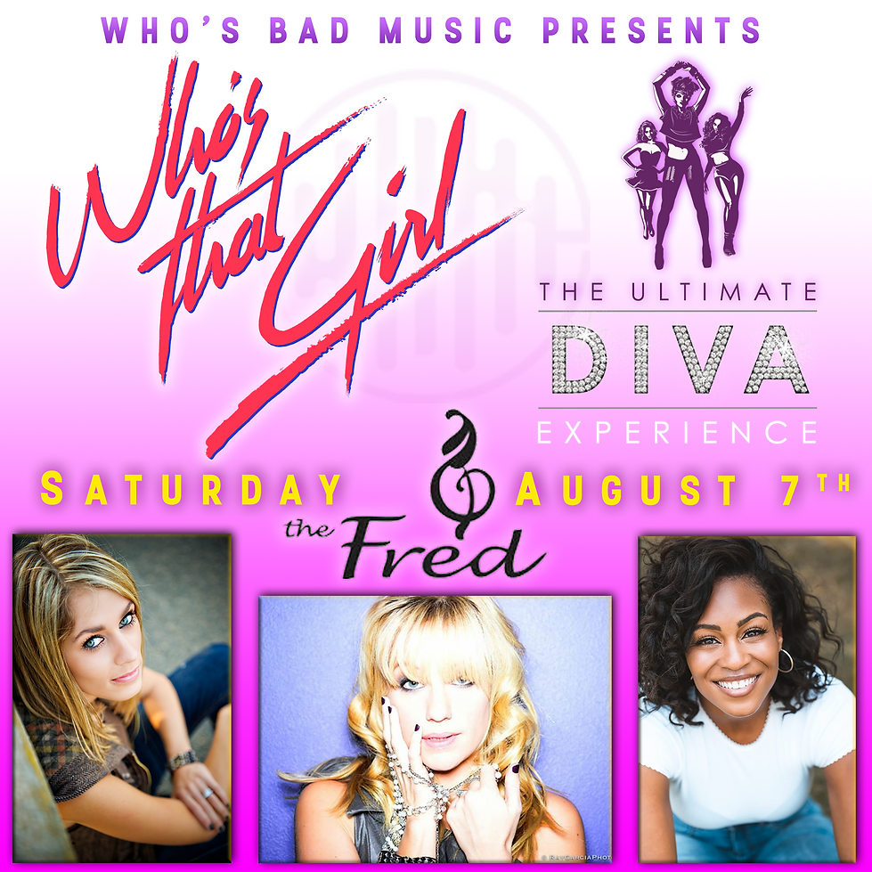 Who's That Girl logo (at the Fred Brown Jr Amphitheatre August 7, 2021)