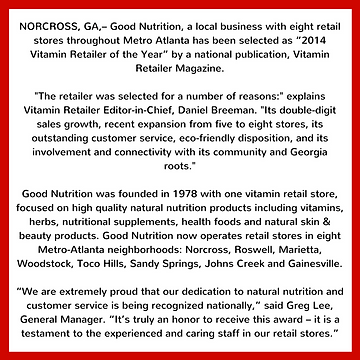 Good Nutrition story from Vitamin Retailer of the Year, 2014