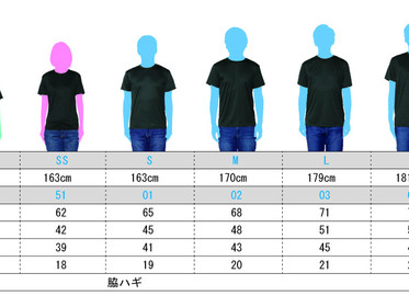 Tシャツサイズについて