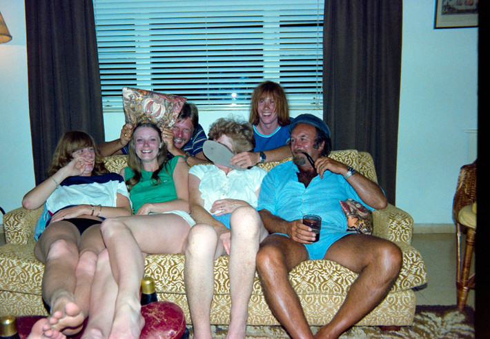 Photo by Pete Bilk.  Jenny Bilk, Alison Vacara (Scarboro), Dave Vacara, Jean Bilk, Pete Bilk and Acker Bilk.