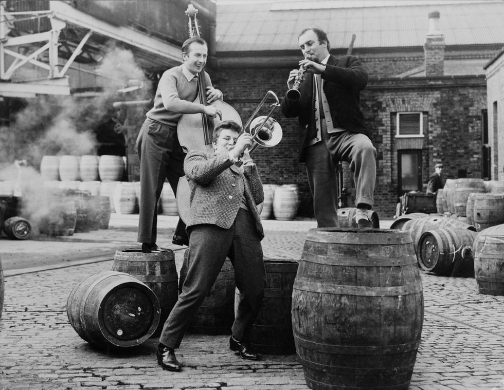 Photo: A. Guinness son & Co LTD. Dublin, 5th feb 1960. Ernie Price, John Mortimer and Acker Bilk.