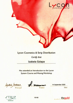 lycon advanced training certyficate beautyland waxing expert