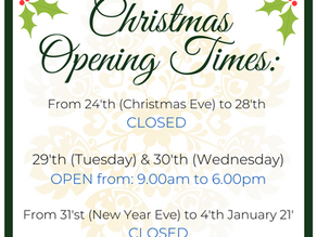 Christmas 2020' Opening Times