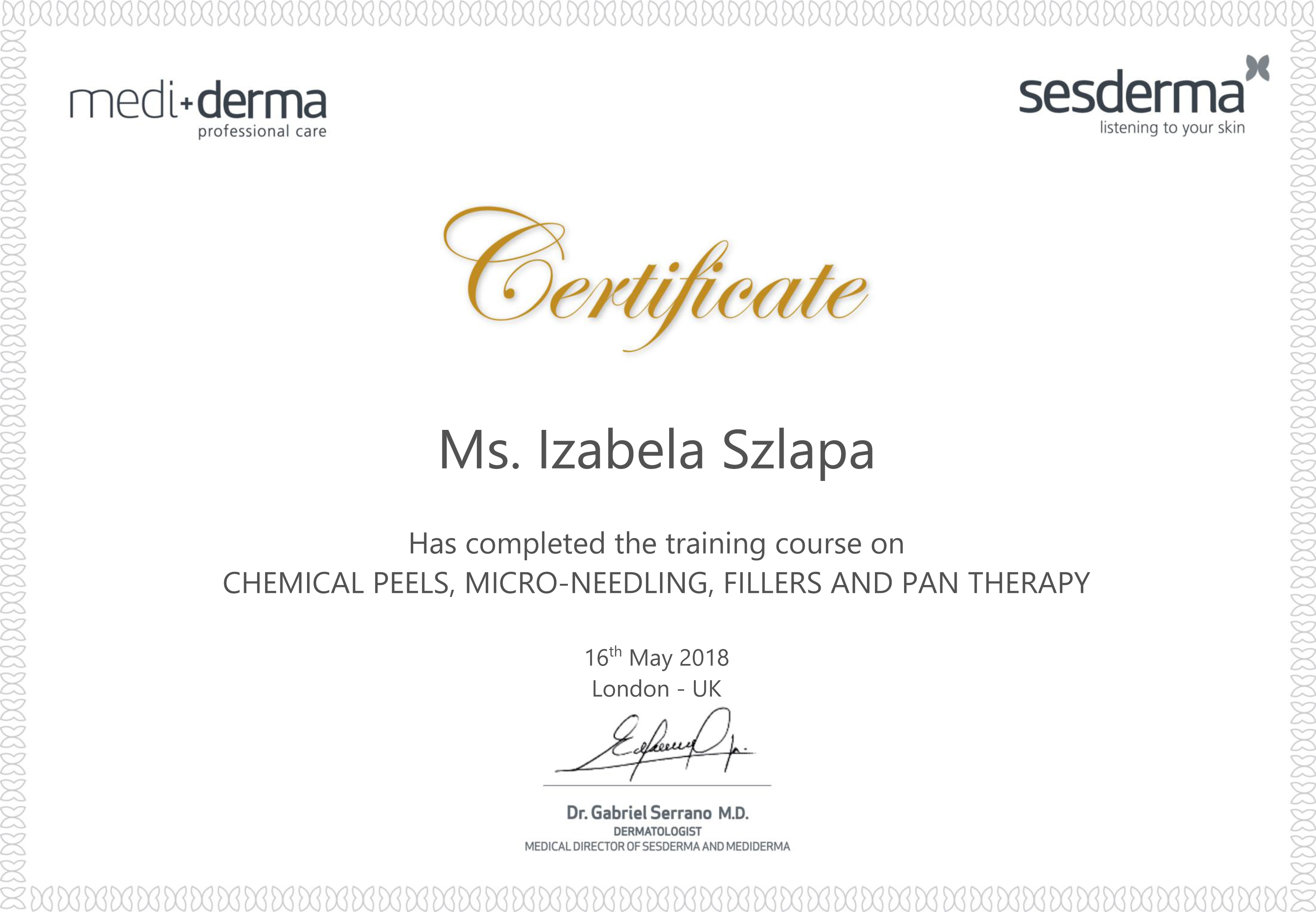 Izabela Szlapa Training Certificate