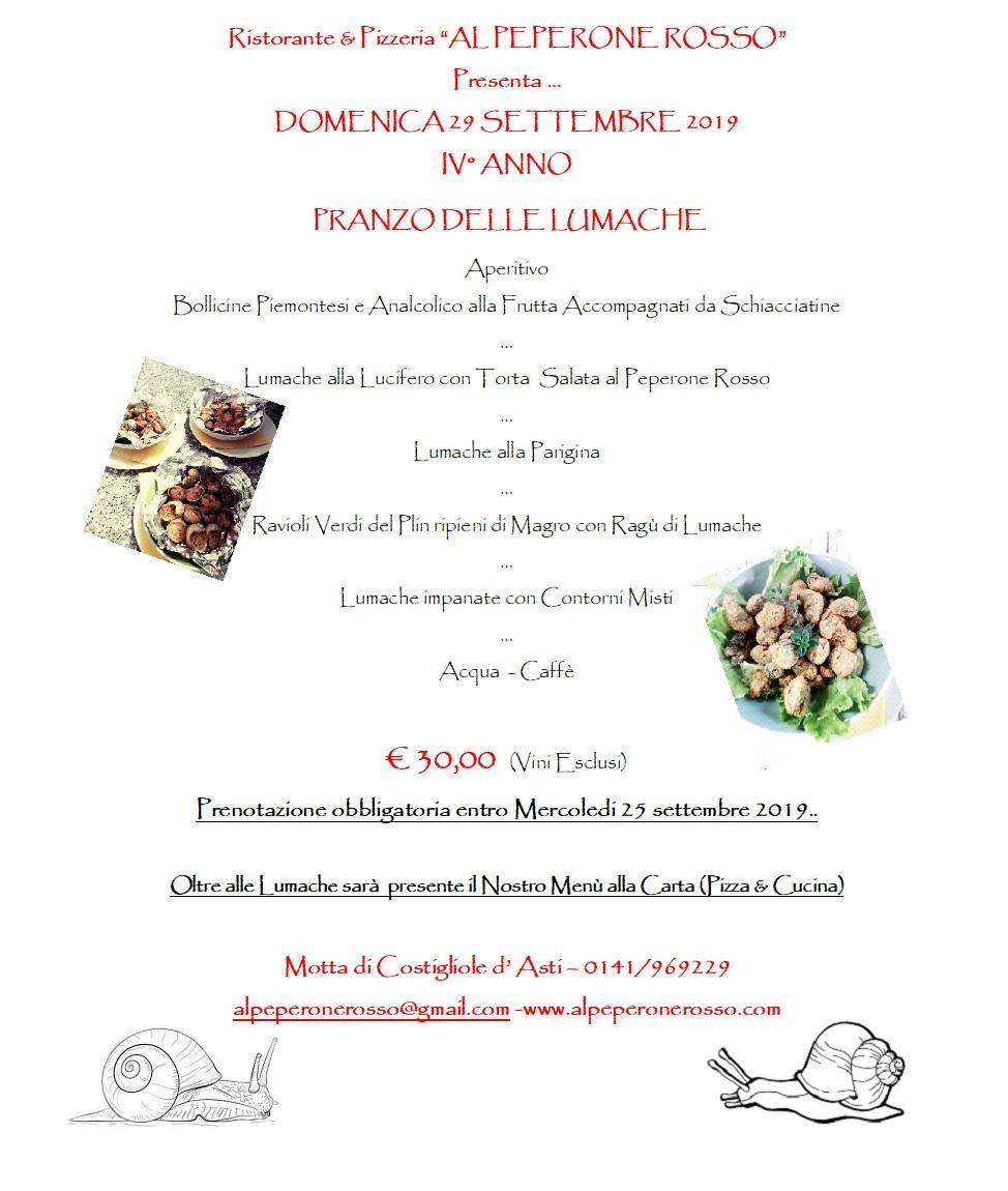 Domenica 29 Settembre 2019, IV° anno con il Pranzo delle Lumache, un menù interamente a base di Lumache,