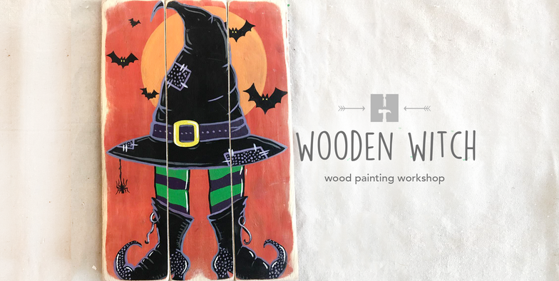 Wooden Witch Painting