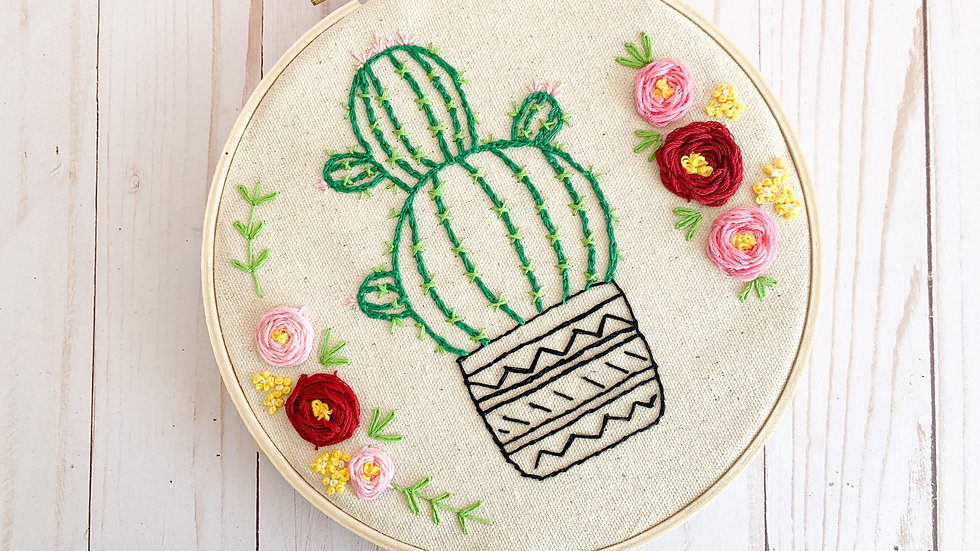 DIY Art Kit - Cactus and Flowers Embroidery