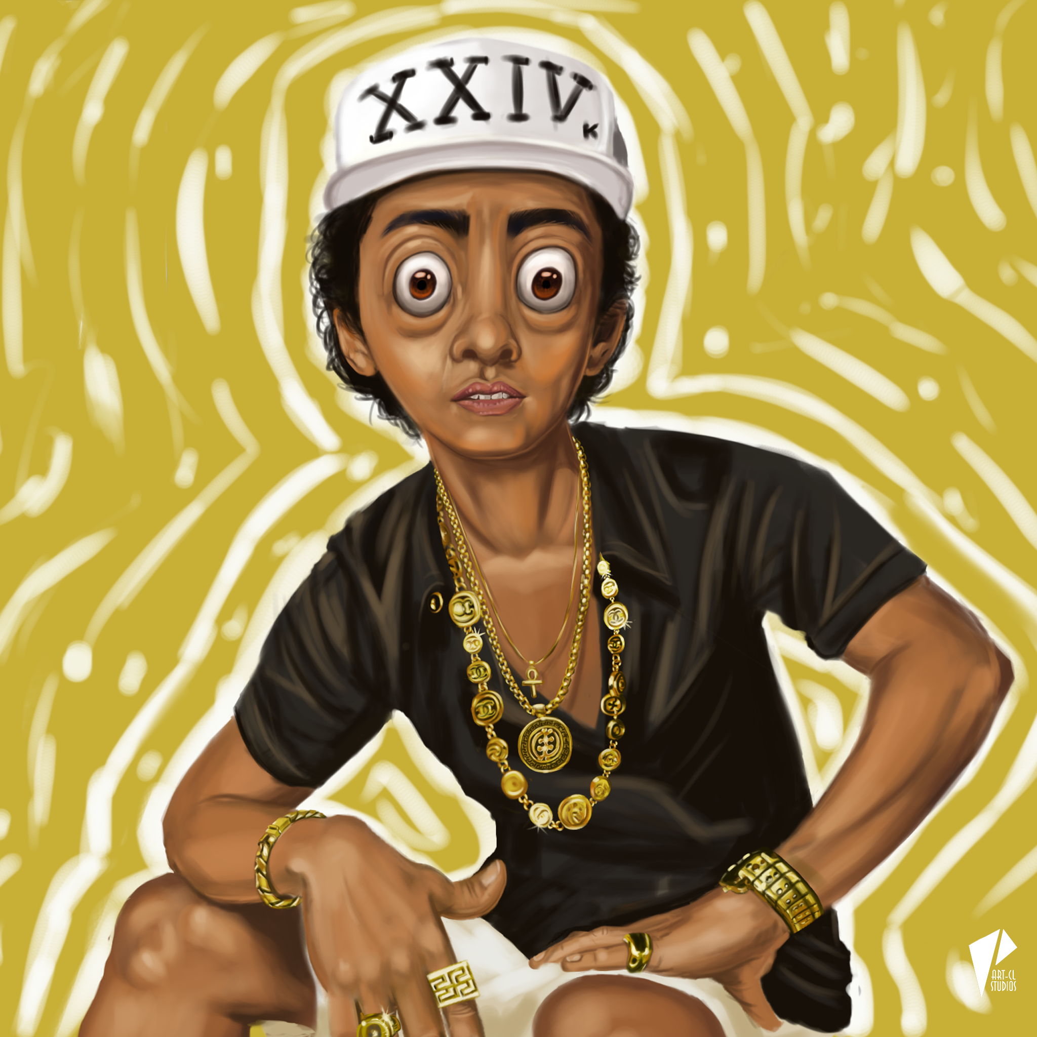 Caricature Bruno Mars