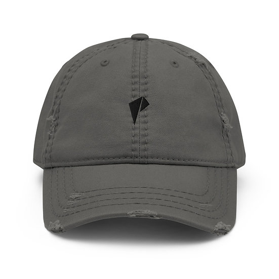Black Logo Distressed Dad Hat