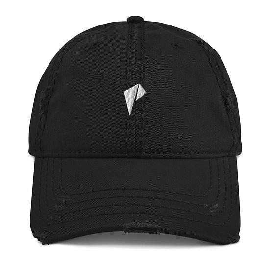 White Logo Distressed Dad Hat