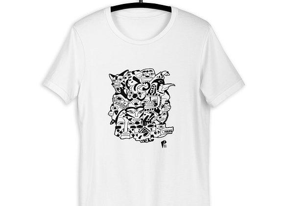 Short-Sleeve Unisex T-Shirt Tribal Mask Black