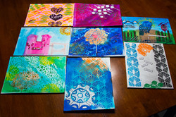 Students' completed paintings