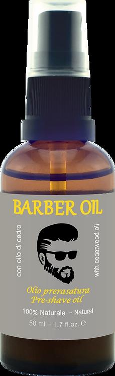 BARBER OIL - Olio prerasatura - con olio di cedro, 100% Naturale