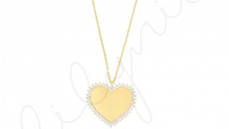 Beyaz Taşlı Kalp Gümüş Kolye