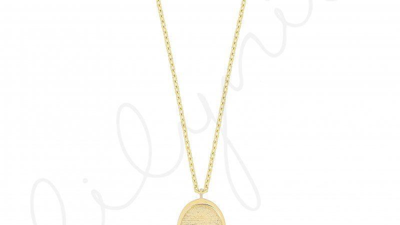 Nazar Boncuklu Oval Madalyon Gümüş Kolye