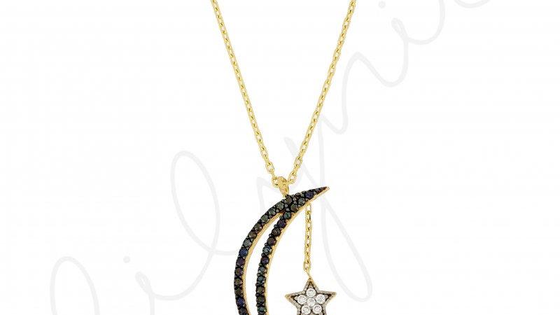 Taşlı Ay-Yıldız Gümüş Kolye
