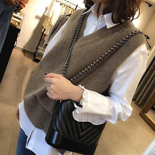 New v Neck Girls Pullover over large Vest Sweater