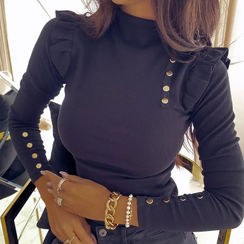 Button Long Sleeve Casual Solid Knitted Sweater