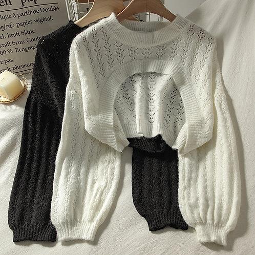 Women Crop Loose Short Knit Sweater