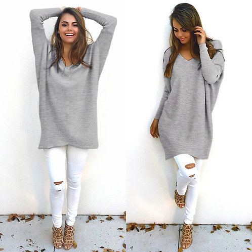 Women V-Neck Long Sleeve Pullovers Loose Knitted Sweater